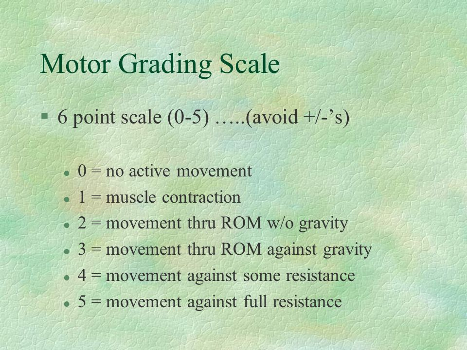 Motor Grading Scale 6 point scale (0-5) …..(avoid +/-'s)