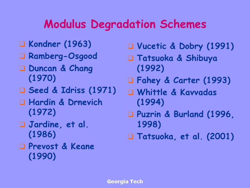 Modulus Degradation Schemes