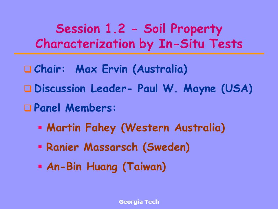 Session 1.2 - Soil Property Characterization by In-Situ Tests