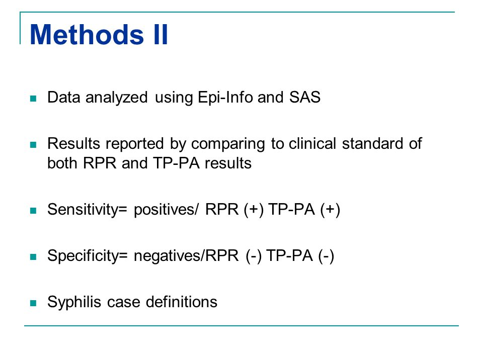 Methods II Data analyzed using Epi-Info and SAS