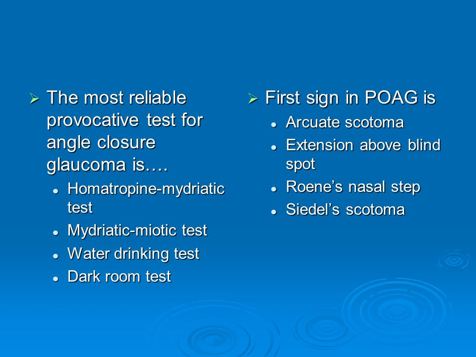 The most reliable provocative test for angle closure glaucoma is….