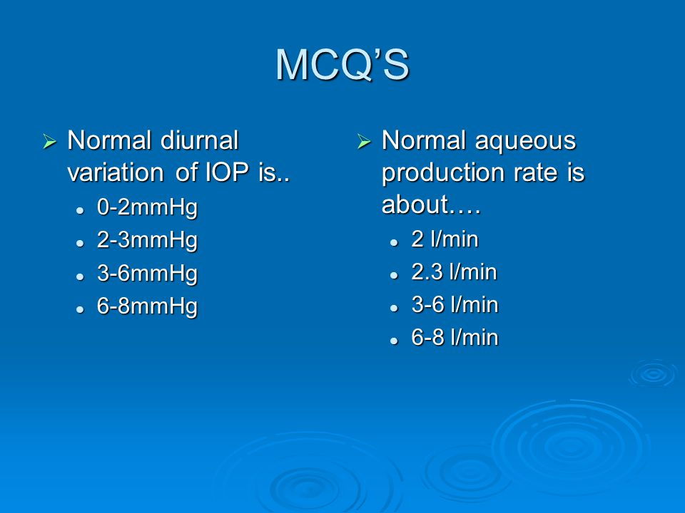 MCQ'S Normal diurnal variation of IOP is..