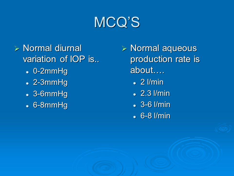 MCQ'S Normal diurnal variation of IOP is..