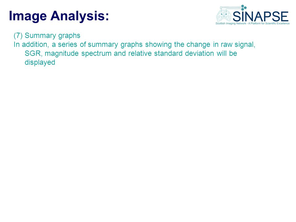 Image Analysis: (7) Summary graphs