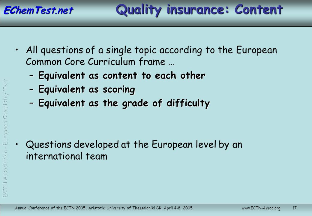 Quality insurance: Content