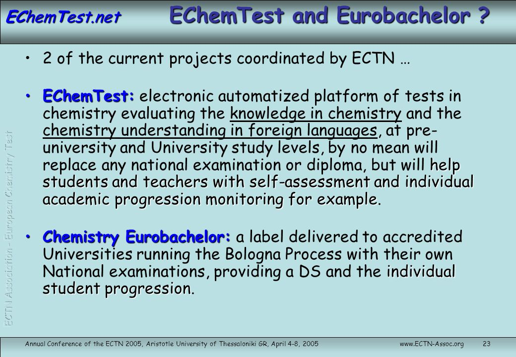 EChemTest and Eurobachelor