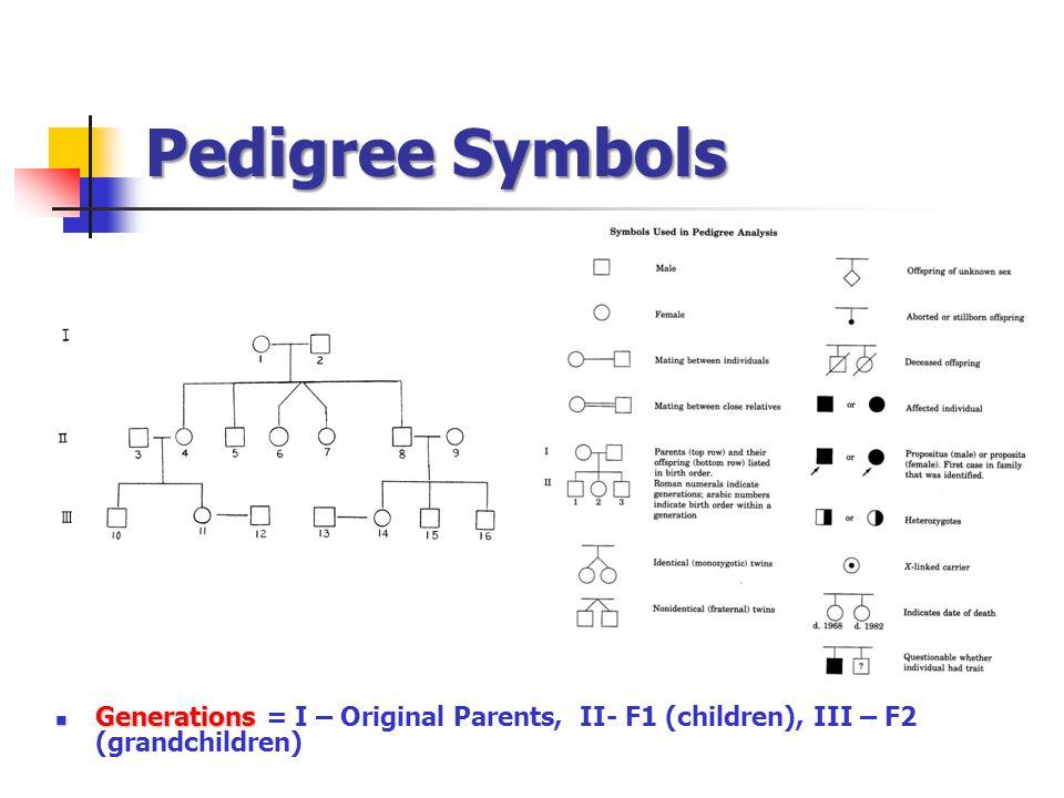 Pedigree Symbols Generations = I – Original Parents, II- F1 (children), III – F2 (grandchildren)
