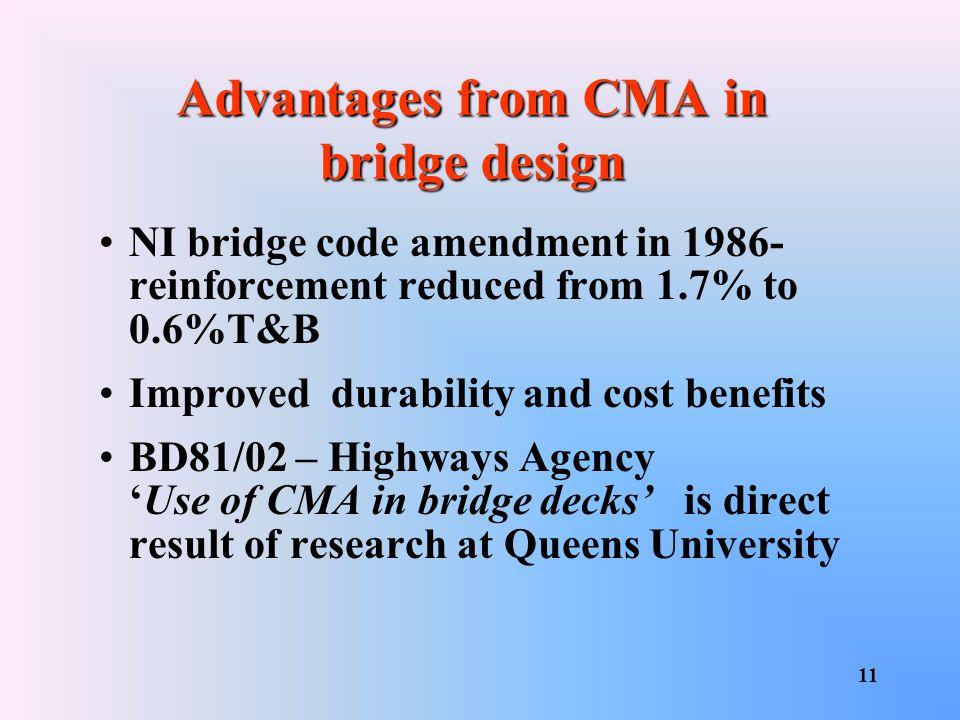 Advantages from CMA in bridge design