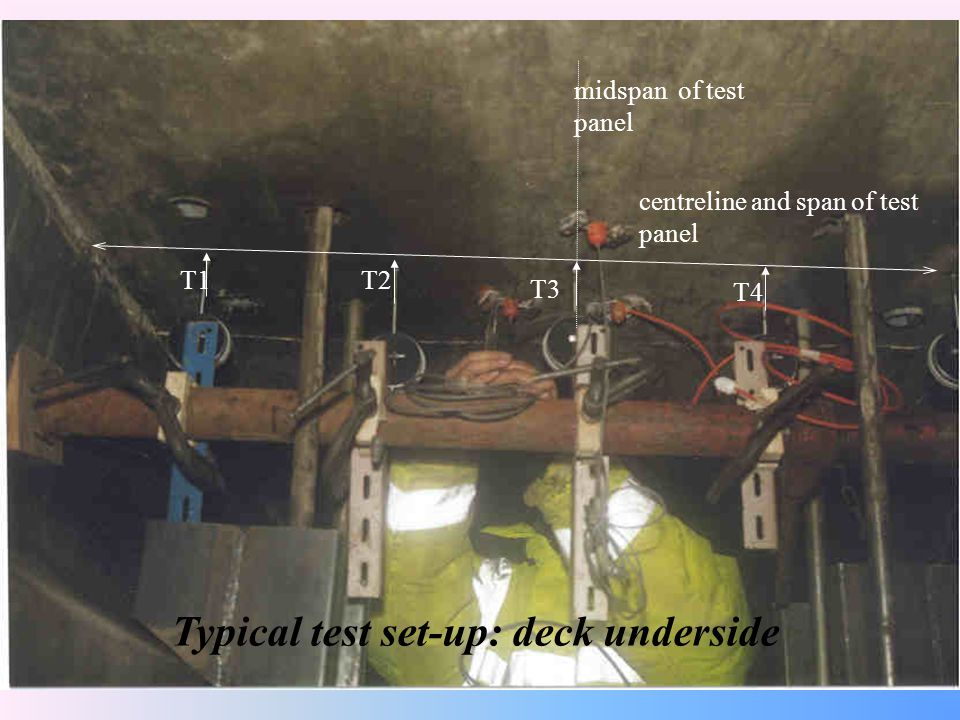 Typical test set-up: deck underside