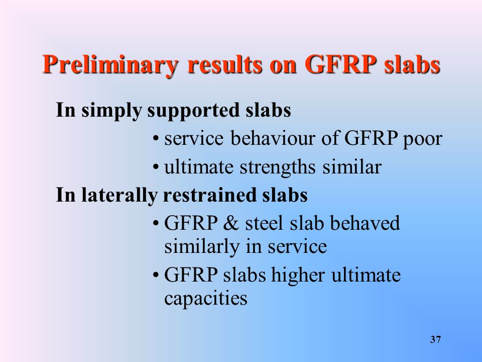 Preliminary results on GFRP slabs