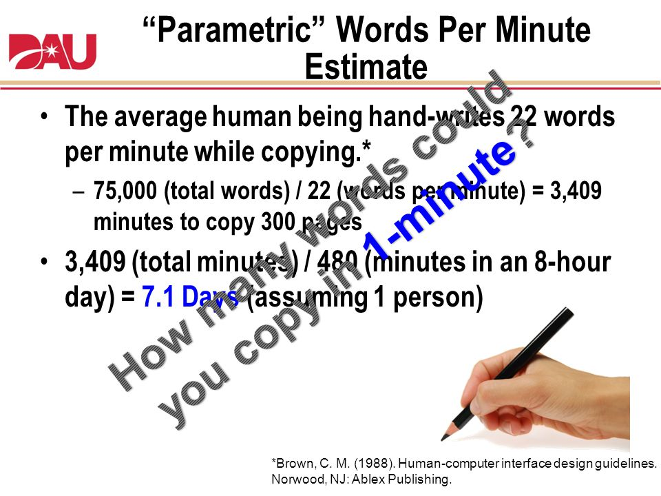 Parametric Words Per Minute Estimate