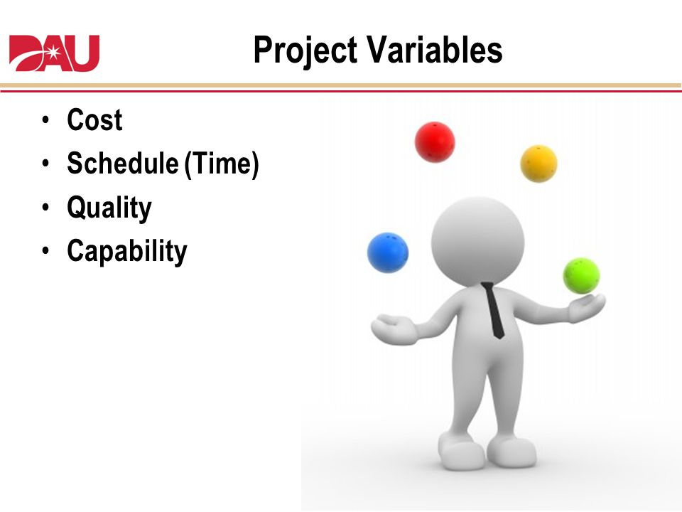 Project Variables Cost Schedule (Time) Quality Capability