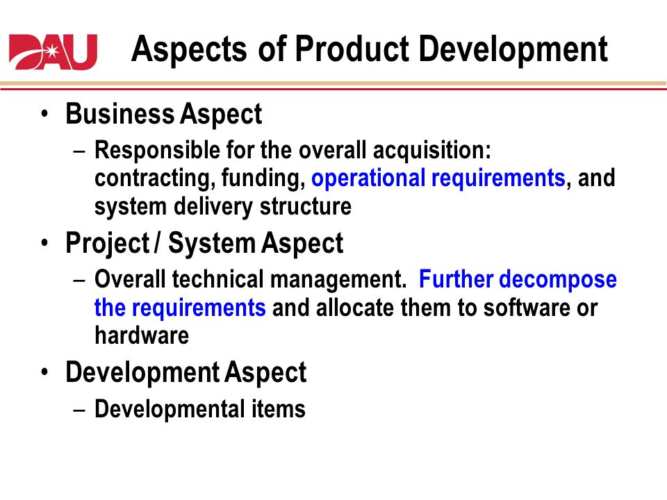 Aspects of Product Development