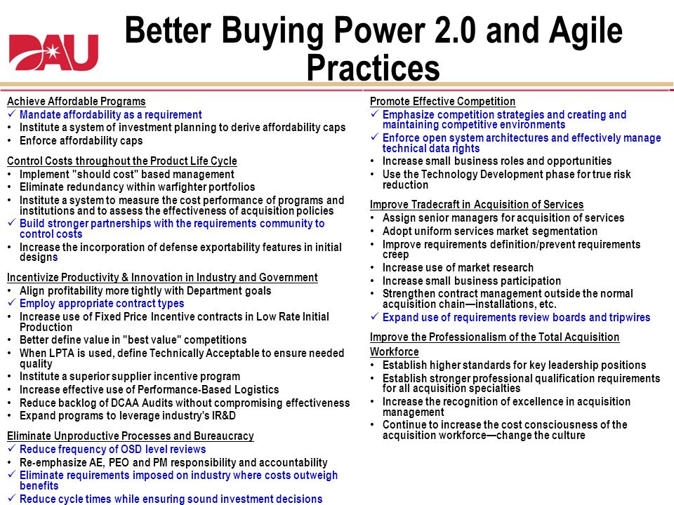 Better Buying Power 2.0 and Agile Practices