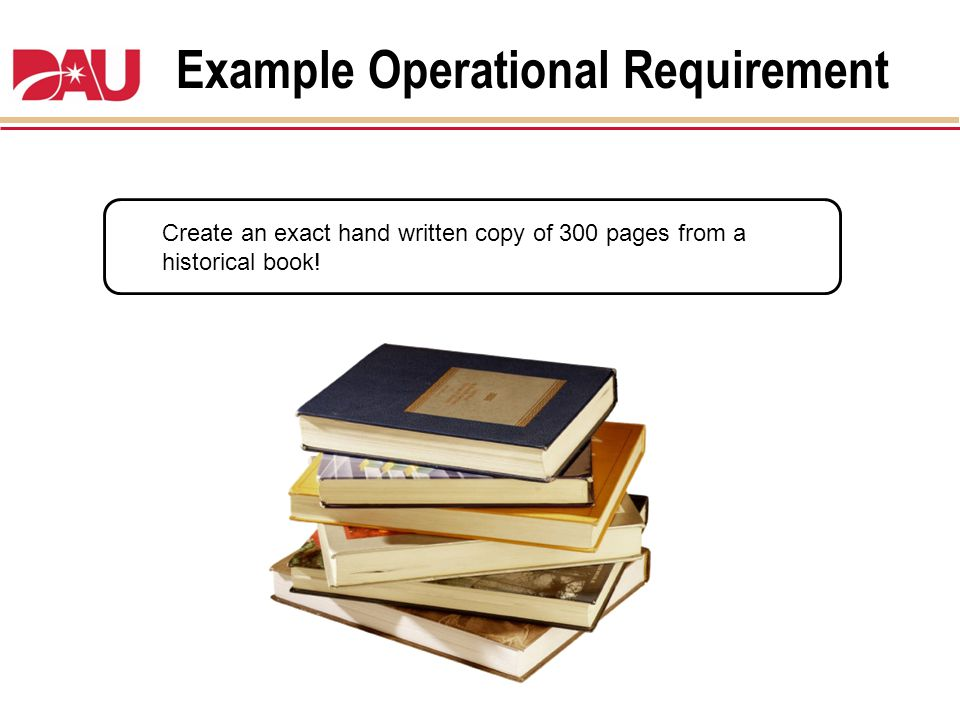 Example Operational Requirement