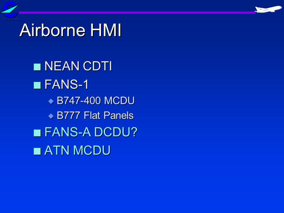Airborne HMI NEAN CDTI FANS-1 FANS-A DCDU ATN MCDU B747-400 MCDU