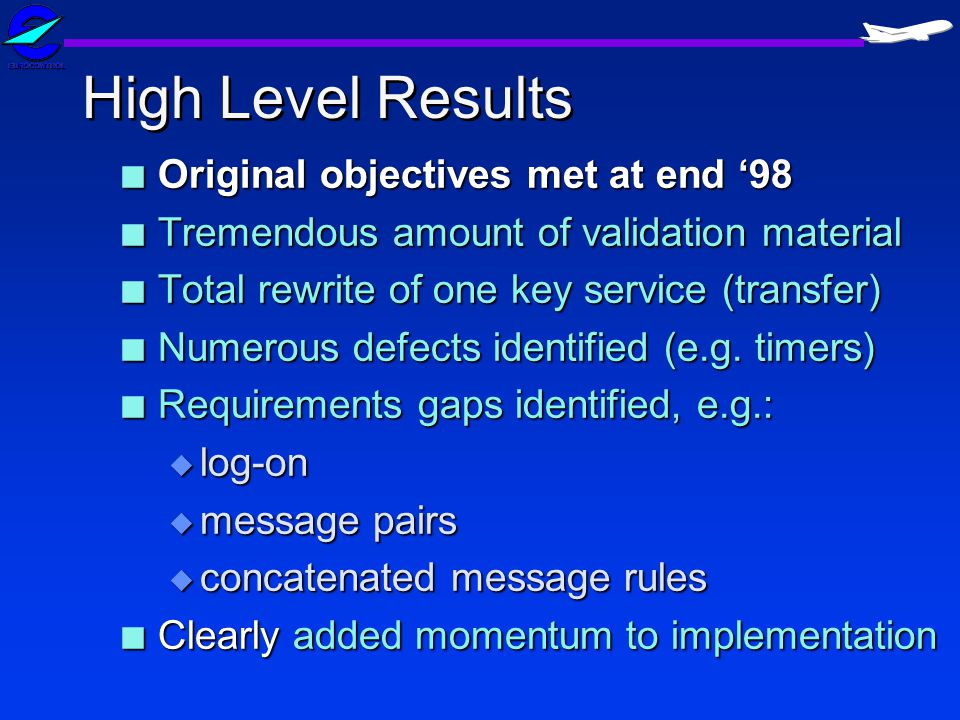 High Level Results Original objectives met at end '98