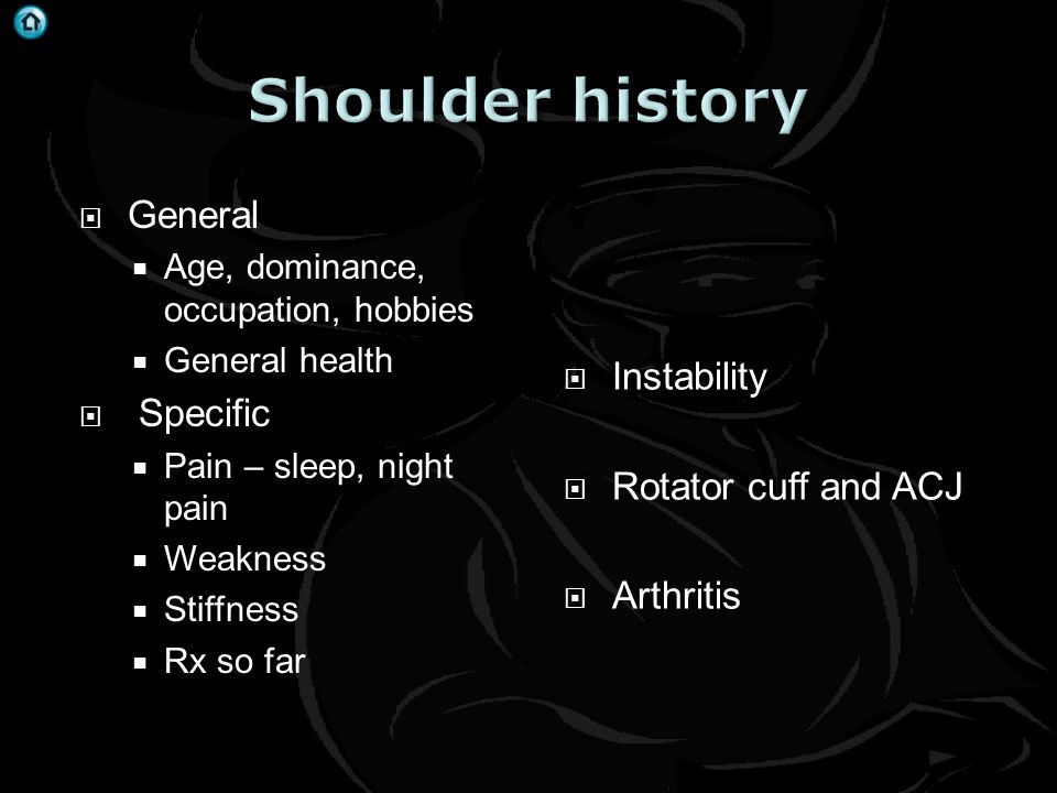 Shoulder history General Specific Instability Rotator cuff and ACJ