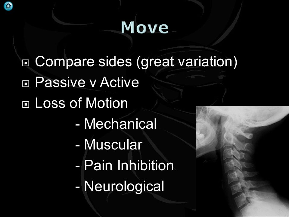 Move Compare sides (great variation) Passive v Active Loss of Motion