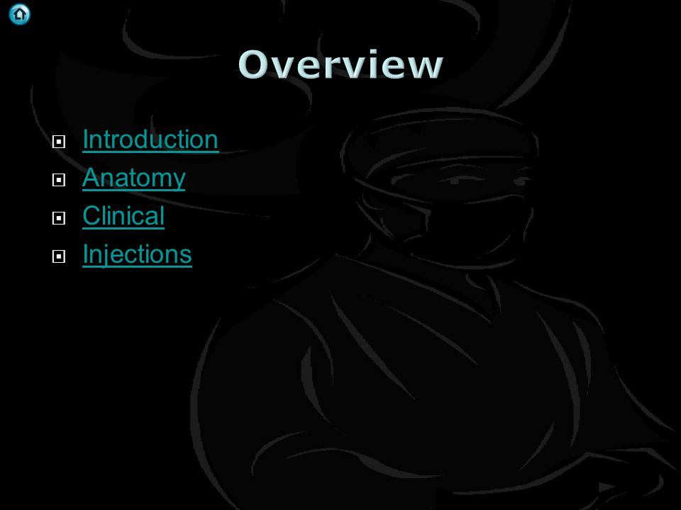 Overview Introduction Anatomy Clinical Injections