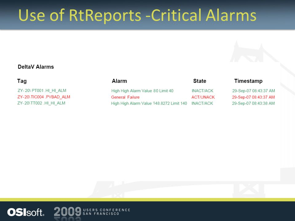Use of RtReports -Critical Alarms