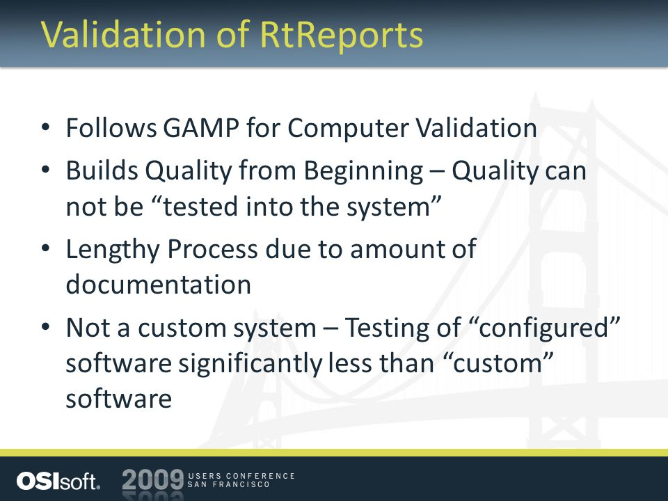 Validation of RtReports