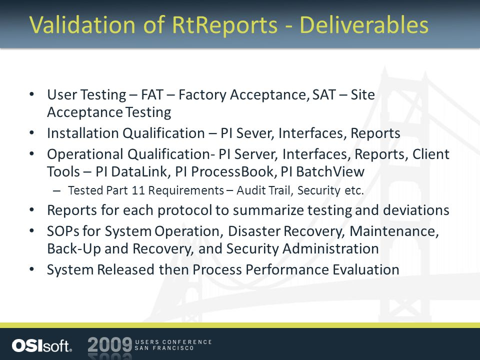 Validation of RtReports - Deliverables