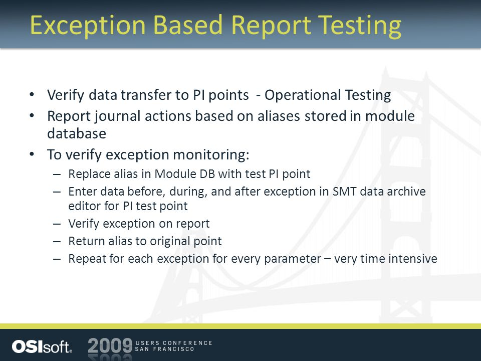 Exception Based Report Testing