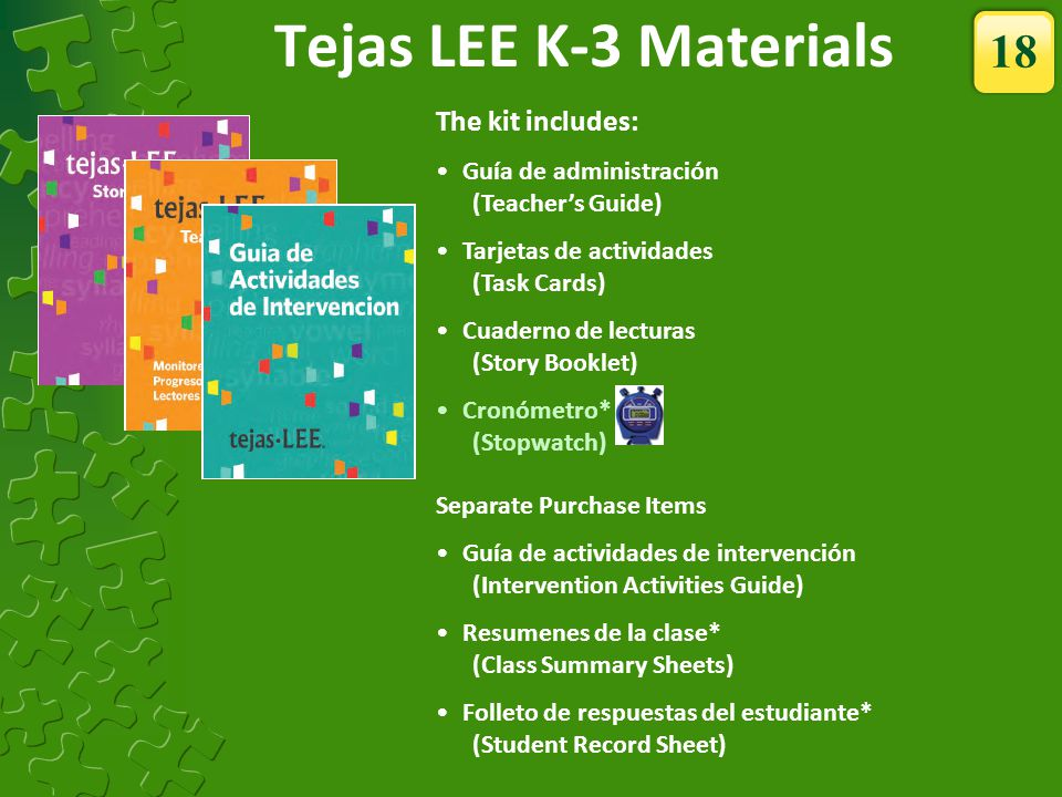 Tejas LEE K-3 Materials 18 The kit includes: Guía de administración