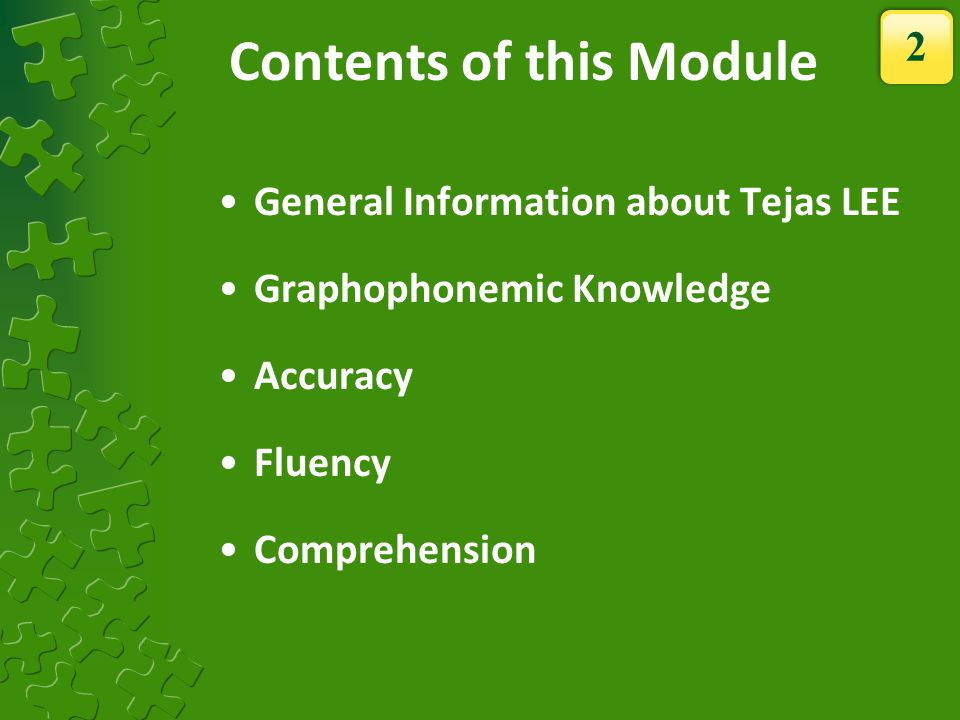 Contents of this Module
