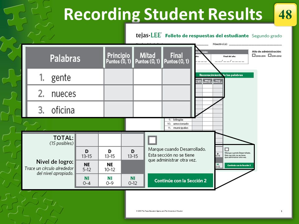 Recording Student Results