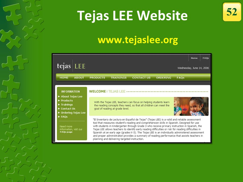 Tejas LEE Website 52 www.tejaslee.org The Tejas LEE website has…