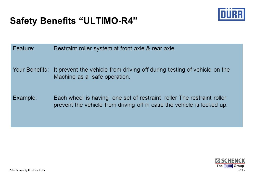 Safety Benefits ULTIMO-R4
