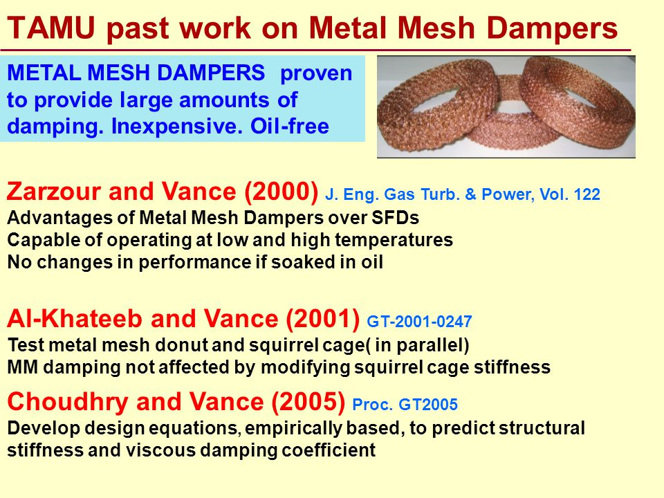 TAMU past work on Metal Mesh Dampers