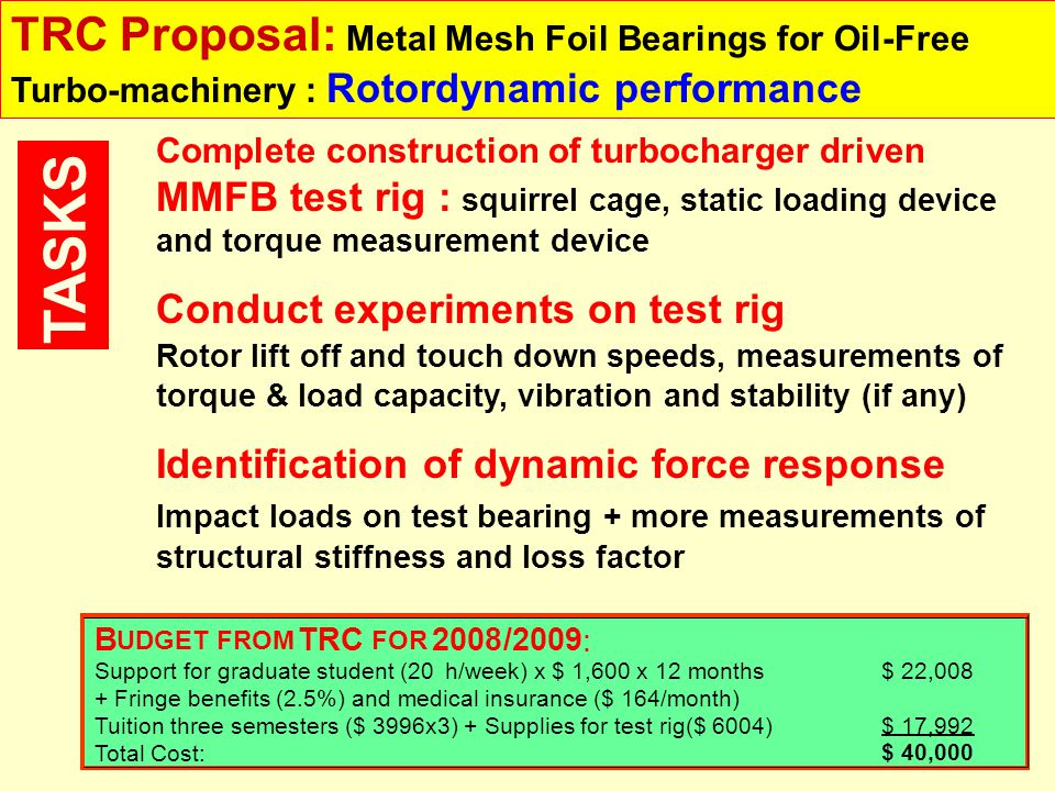 TRC Proposal: Metal Mesh Foil Bearings for Oil-Free Turbo-machinery : Rotordynamic performance