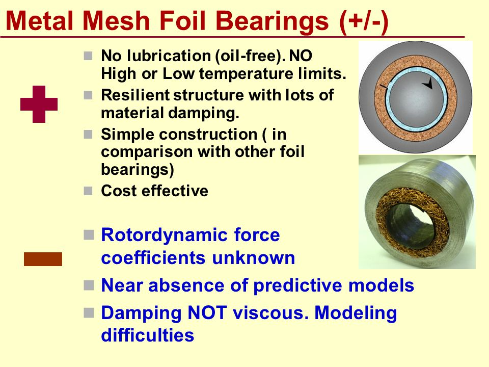 Metal Mesh Foil Bearings (+/-)