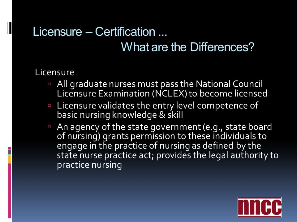 Licensure – Certification ... What are the Differences