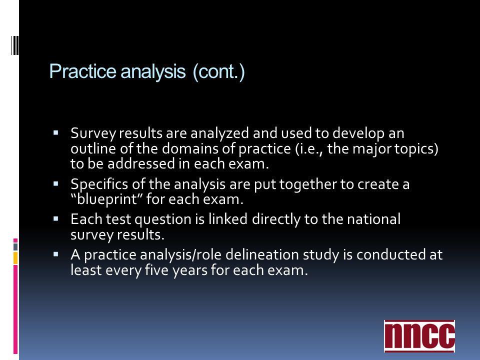 Practice analysis (cont.)