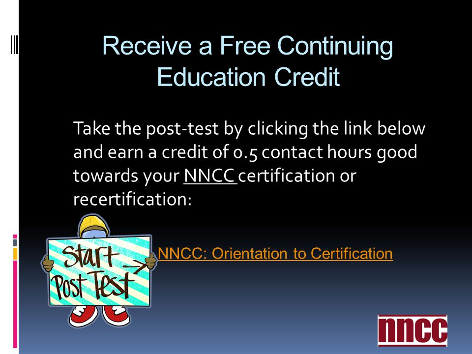 Receive a Free Continuing Education Credit