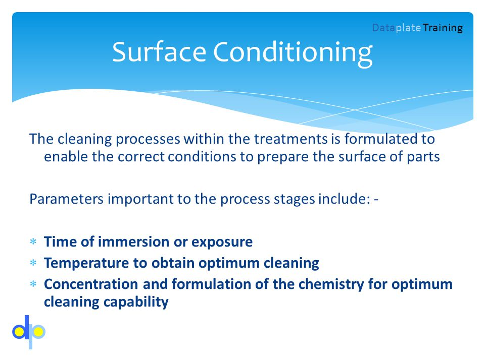 Surface Conditioning Dataplate Training.