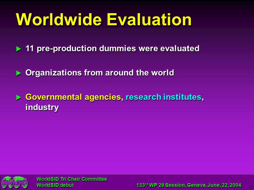 Worldwide Evaluation 11 pre-production dummies were evaluated