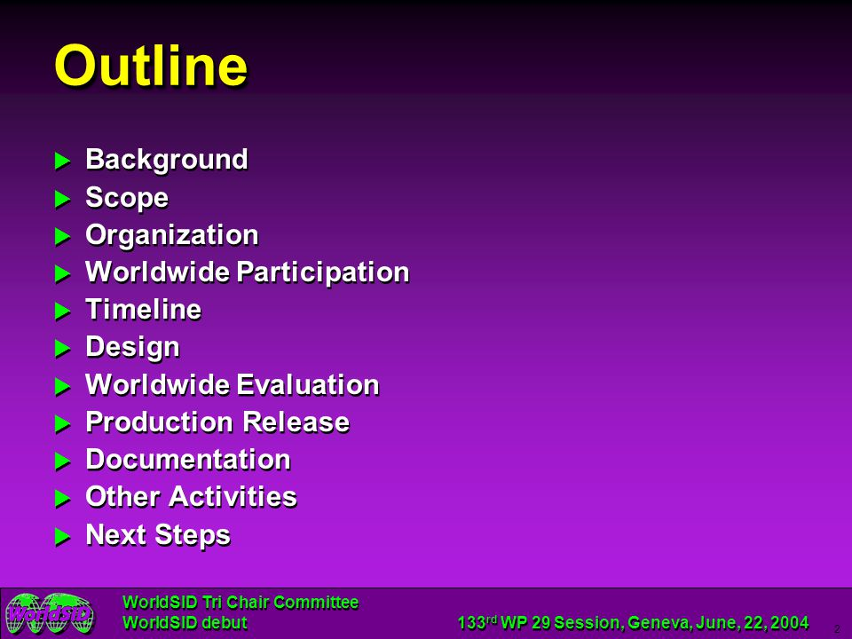 Outline Background Scope Organization Worldwide Participation Timeline