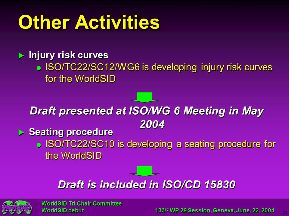 Other Activities Draft presented at ISO/WG 6 Meeting in May 2004