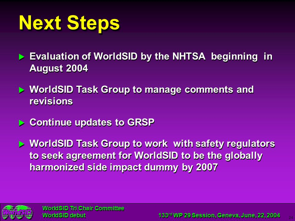 Next Steps Evaluation of WorldSID by the NHTSA beginning in August 2004. WorldSID Task Group to manage comments and revisions.