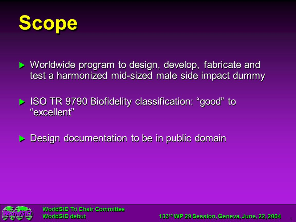 Scope Worldwide program to design, develop, fabricate and test a harmonized mid-sized male side impact dummy.