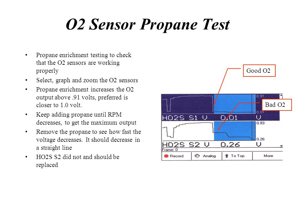 O2 Sensor Propane Test Propane enrichment testing to check that the O2 sensors are working properly.