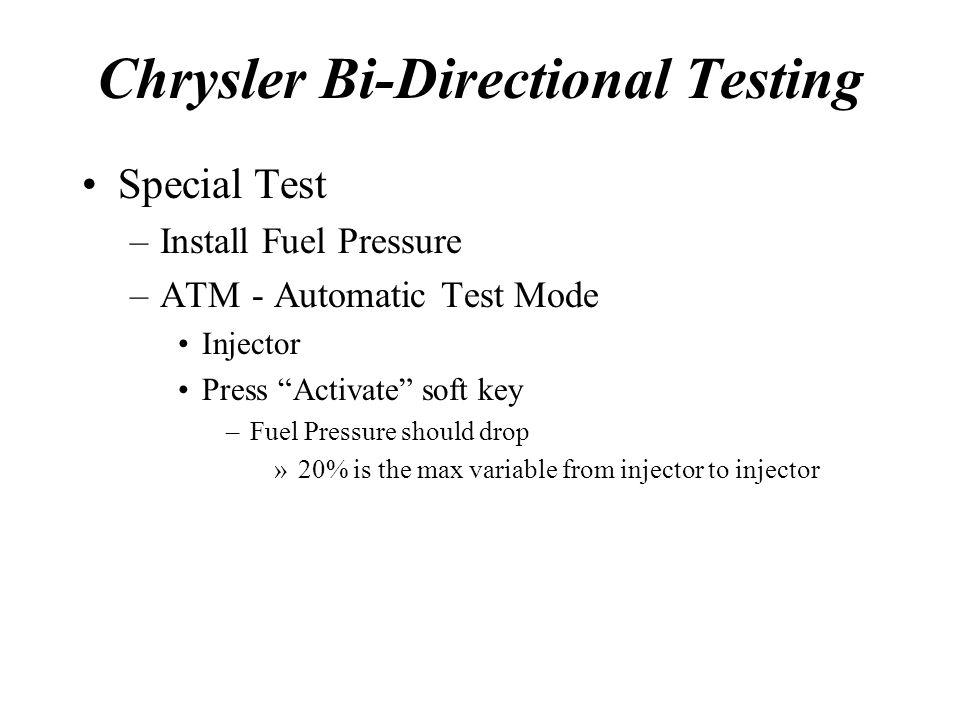 Chrysler Bi-Directional Testing