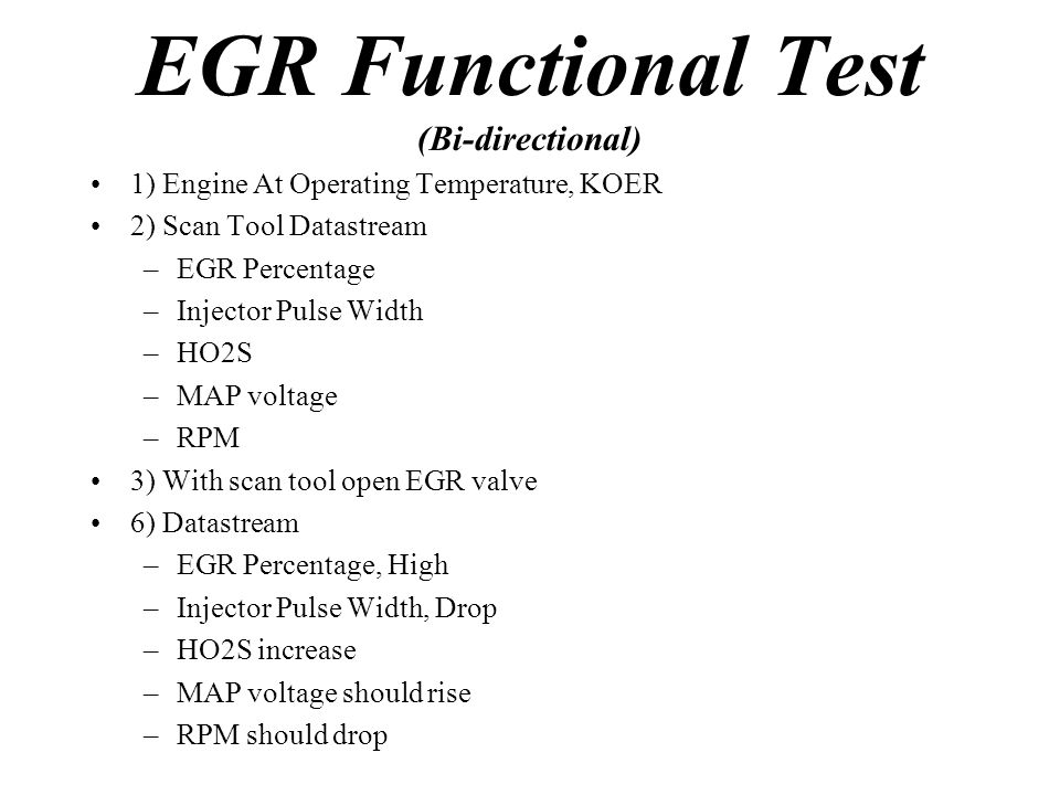 EGR Functional Test (Bi-directional)