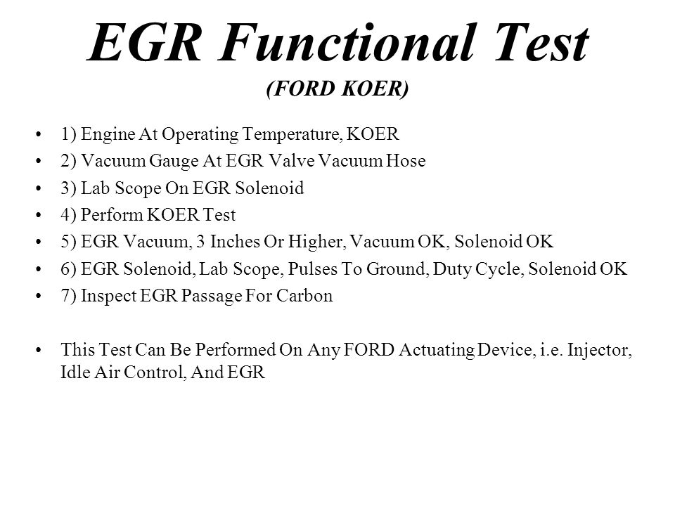 EGR Functional Test (FORD KOER)