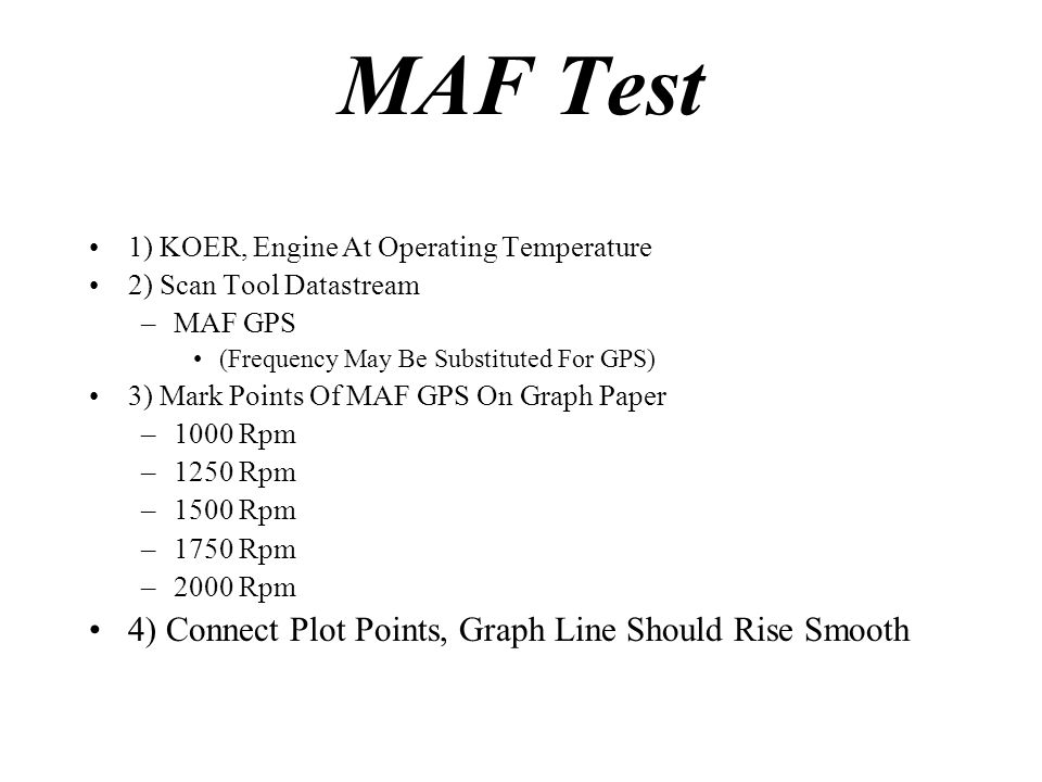 MAF Test 4) Connect Plot Points, Graph Line Should Rise Smooth